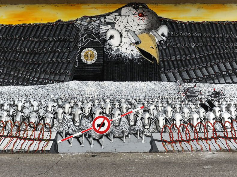 """Surveillance of the fittest"" / mural / 60m*6m / cologne / 2013"